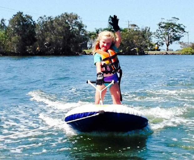 """Jeannie Kuwert submitted this picture of her daughter Ava, 4, waterskiing just before Christmas. """"Our favourite thing to do in summer is waterskiing on the beautiful Richmond River in Ballina."""""""