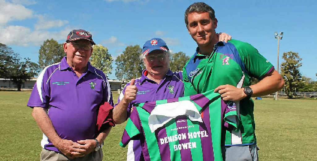 BACK FOR MORE: Former Brahmans Michael Malay and Gerry Coonan with Whitsunday Brahmans coach Anthony Blackwood earleir this year. Blackwood will play for the club again this year and will be the head coach of A grade.
