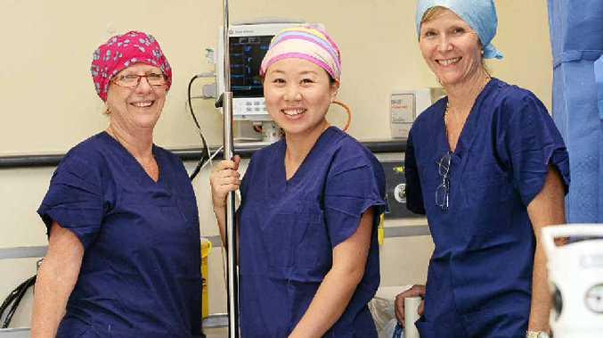 EXPERIENCE COUNTS: Sunshine Coast Private Hospital theatre nursing staff members Marg Craddock, Selena Yu and Marita Schlaikier.