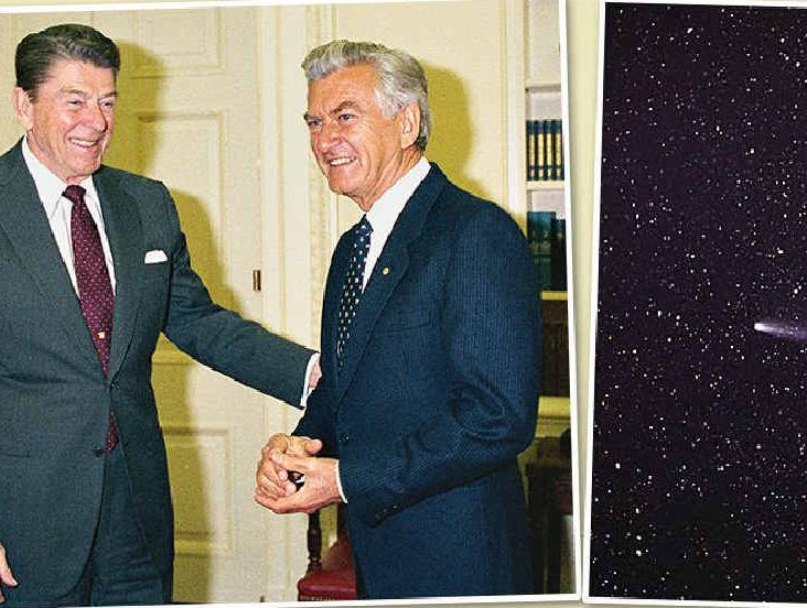 CLOCKWISE: Prime Minister Bob Hawke and President Ronald Reagan at the White House, 1986; Halley's Comet returned to view, 1986; Cabinet on the steps of Parliament House, 1987.