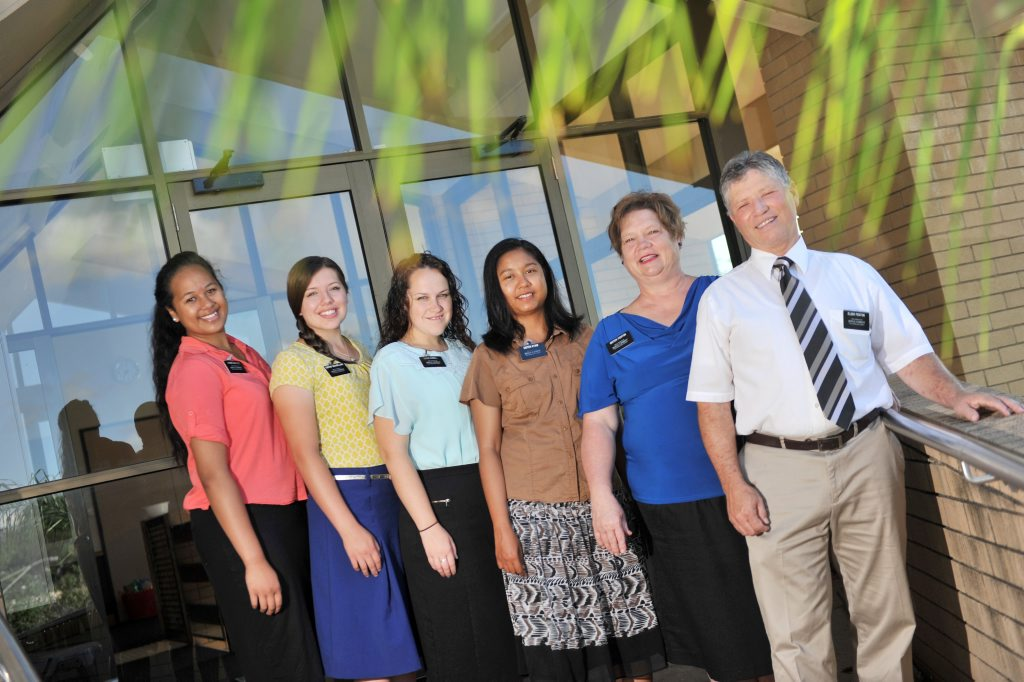 Ofeira Lealii E'e, Carly Shaelling, Camilla Russel and Eiei Kyaw are completing a mission with Bruce and Janet Fenton in the Gladstone region with the Church of Jesus Christ of Latter Day Saints.