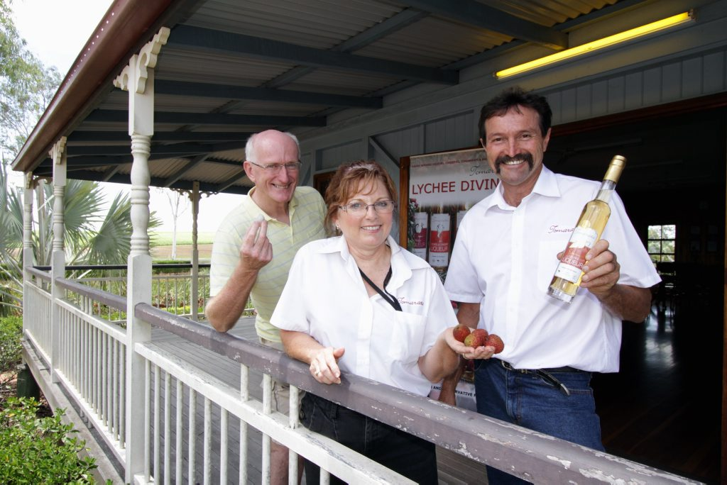 Councillor Chris Loft with owners of Lychee Divine Kerry and John Poole.