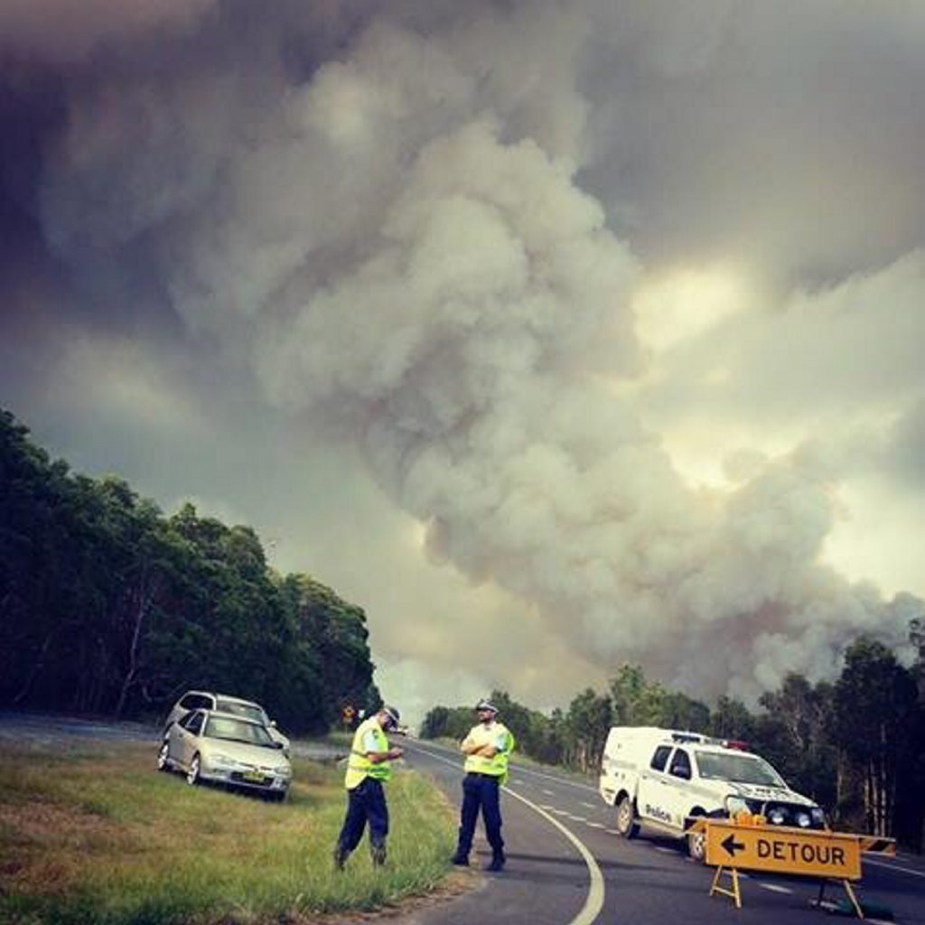 The Coast Road closed off with fire very close to road Monday afternoon. Photo Contributed by Rachel Martin