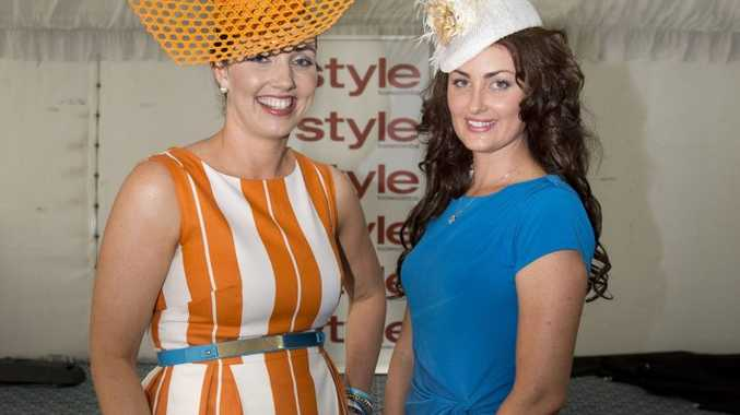 Winner of Fashions on the Field, Lisa Frappell, with runner-up Cassie Nicholson at the New Year's Eve Races at Clifford park racecourse.