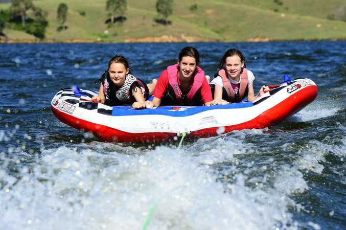 Enjoying the beautiful weather at Somerset Dam from left, Sarah Morrow, Kimberley Schmidt, and Megan Hudson. Photo: David Nielsen / The Queensland Times