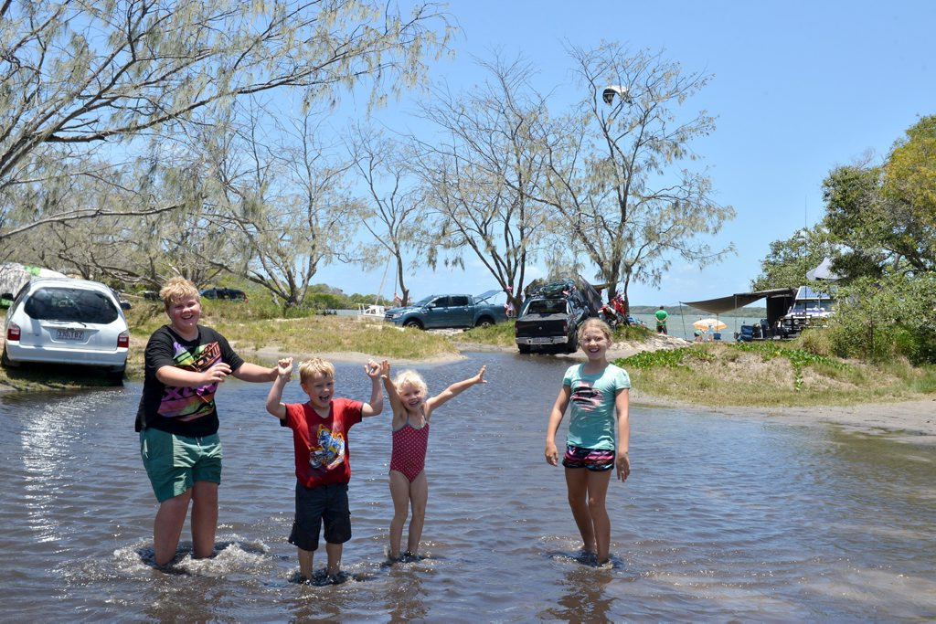 KING TIDE: The Boyd family from Standthorpe Jacob, Jack, Caitlyn and Chloe start exploring their camping grounds.