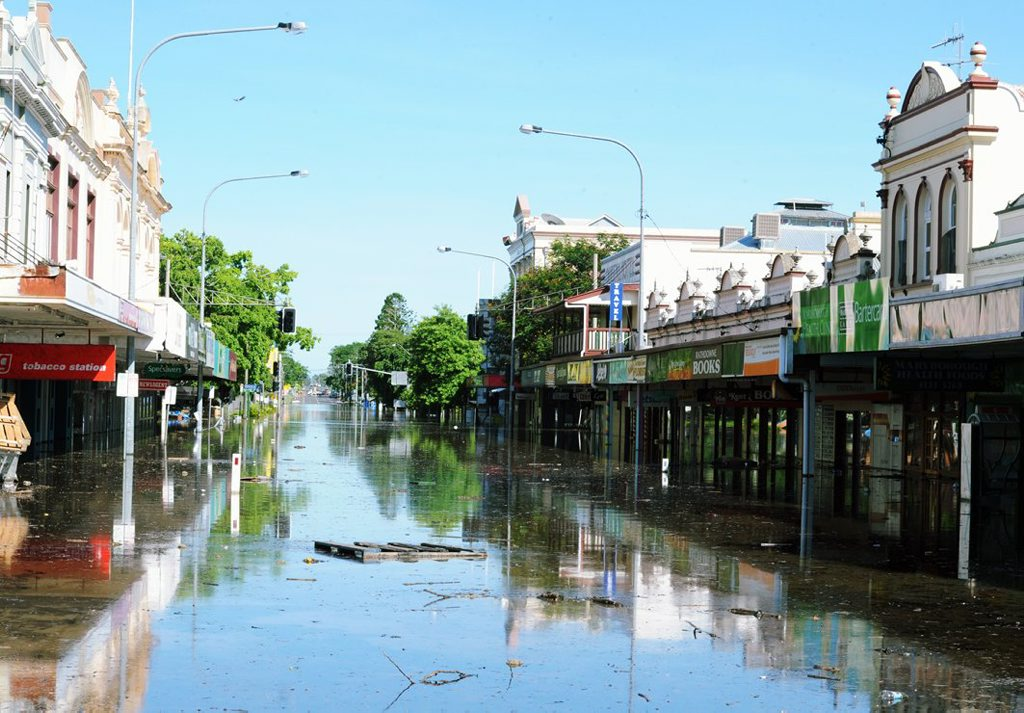 The Maryborough CBD, Kent St. The levee overflowed about 1am Tuesday.
