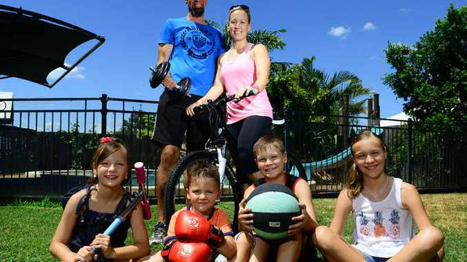HEALTHY LIFESTYLE: Woodend couple David and Kim Small, with their kids (from left) Emma, Ben, Merrick and Shantelle, are fitter since they married 16 years ago.
