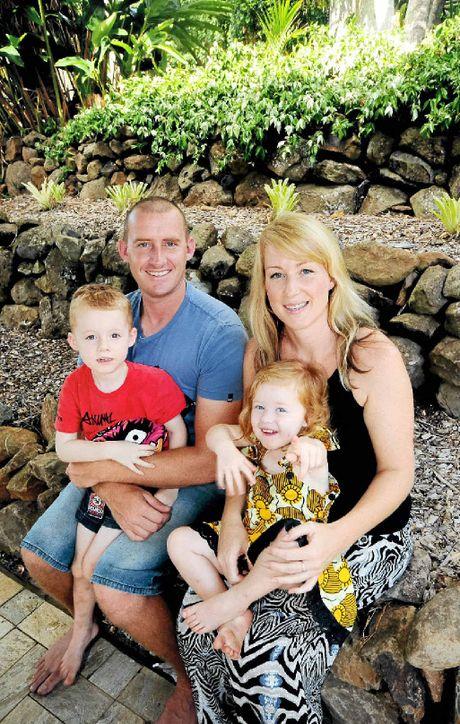 LEARNING CURVE: Dad Andy Newton, Mum Caroline Meehan, with Banjo Newton-Meehan, 3, and Kitty Bo Newton-Meehan, 2,