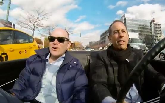 Jerry Seinfeld (right) in a scene from Seinfeld's web series talk show Comedians in Cars Getting Coffee.