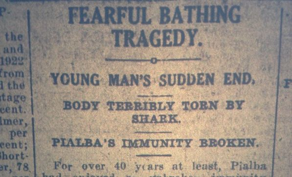 The story of a teen who was killed by shark in Hervey Bay was printed in the December 6, 1922, edition of the Maryborough Chronicle.