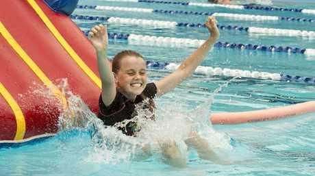 Ebony Lynch . Family fun at Milne bay pool . Photo Nev Madsen / The Chronicle
