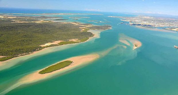 An aerial view of Gladstone Harbour before the LNG projects at Curtis Island.