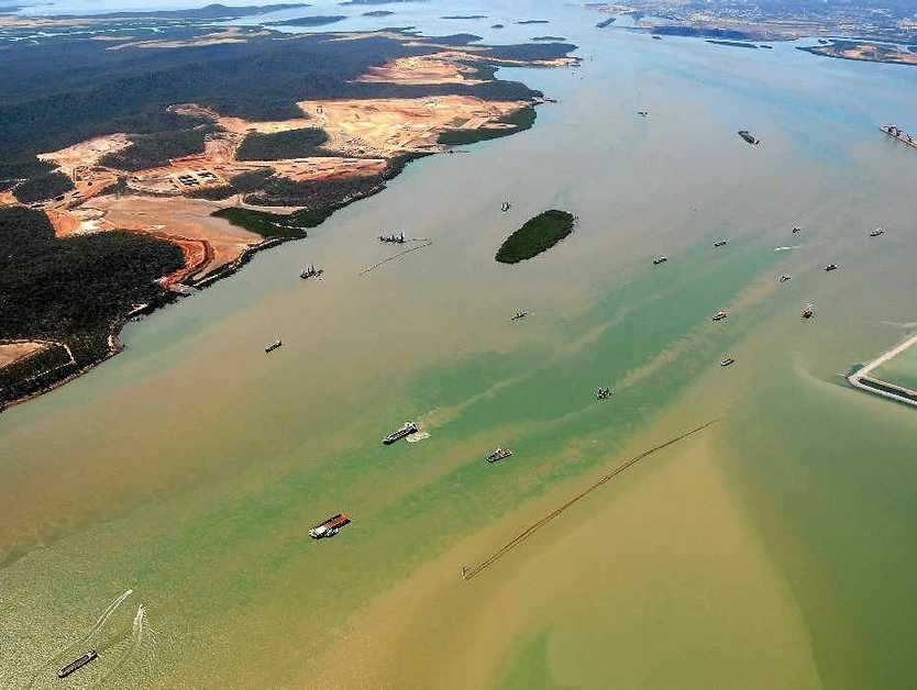 An aerial view of Gladstone Harbour after the LNG projects started.