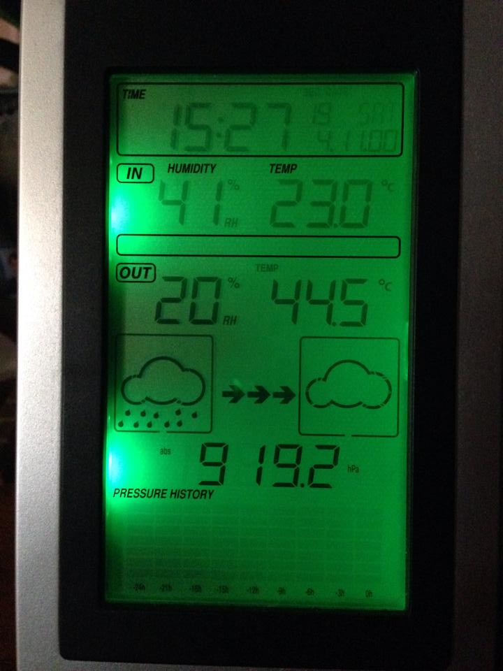 Darling Heights resident Nadine Blair's home weather station recorded 44.5 degrees reading at 3.27pm today.