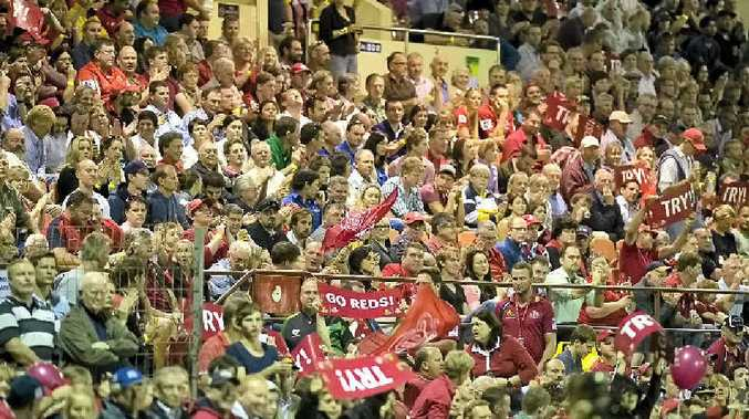 SEEING RED: Part of the Clive Berghofer Stadium crowd at last February's Reds v Blues Super Rugby trial.