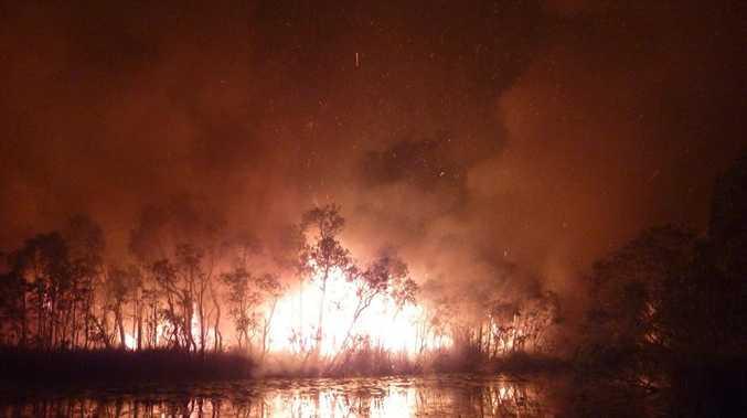 Images from a bushfire burning on North Stradbroke.