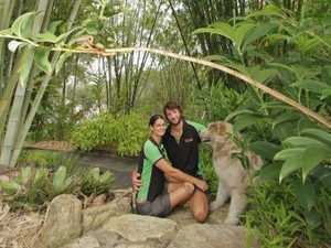 Tarissa Beilby and Janne Nilsson, with their malamute Nelson, at Bamboo Land on the Burrum River.