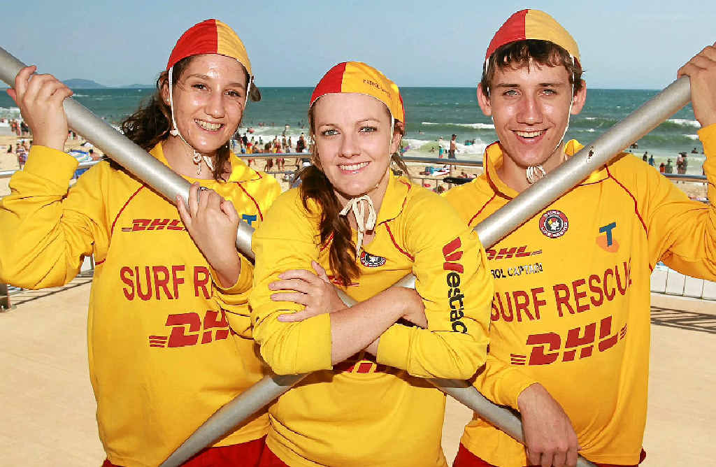USED TO WORKING AS A TEAM: Mooloolaba Surf Life Saving Club's Michelle Jacobson (centre) and fellow lifesavers Emma Walsh and Bxj Fretwell are taking part in Club Red to get more people to donate blood.