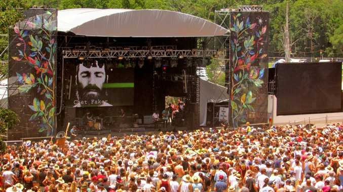A big crowd gathers for Chet Faker at the 2013/14 Falls Festival at North Byron Parklands.
