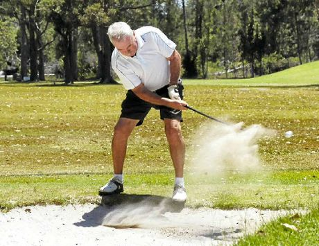 LEFT: Goonellabah's Peter Fay gets out of trouble at the 18th hole during the latest competition at Woodburn-Evans Head Golf Club.
