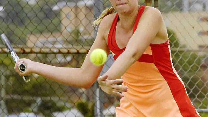 BIG SHOT: Women's singles champion Tyra Calderwood winds up for a big forehand during the Lismore Open Championships.