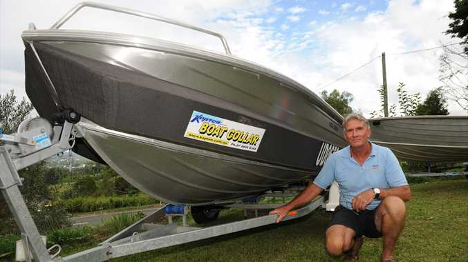 Nambour's Pat Jones with his revolutionary 'Kapten' boat collar.