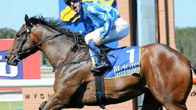 WINNER: Nathan Berry rides Unencumbered in the Wyong Magic Millions 2YO Classic in Wyong.