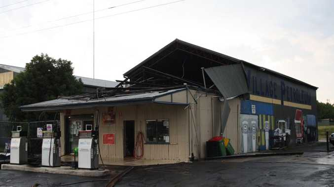 Grantham was hit hard by a storm this afternoon with the roof of Marnell Fuels blown off.