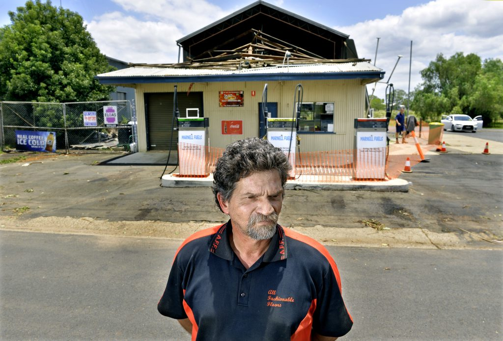 Grantham's Marnell Fuels owner Marty Warburton stands in front of his business that was devasted in the 2011 floods.