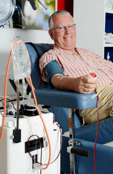 GIVING: Nick Harrison makes his 250th donation at The Lismore Blood Donor Centre.