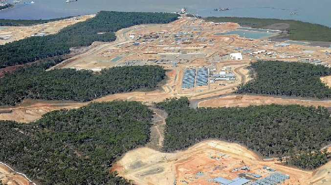 An aerial view of Curtis Island LNG sites being built. Bob Lamont says in about six months the 10,500-odd people employed on these projects will shrink to perhaps 1500 with the end of the construction phase.