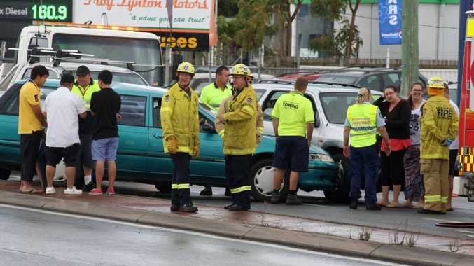 Traffic collision involving three cars heading southbound on Minjungbal Dr, next to the Caltex service station in Tweed Heads South. Photo: Nolan Verheij-full / Daily News