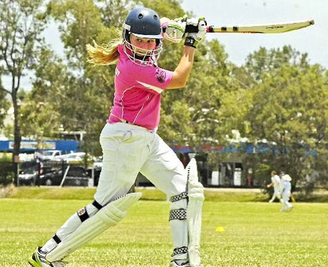 Caitlin Woods keeps an eye on this sliced drive for her FNC Sixers side in the Lismore Under-12 Cricket Carnival clash against Armidale.