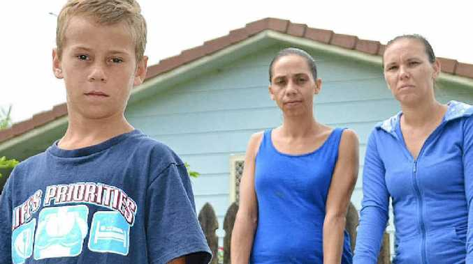 BUS WOES: Mums Chloe Whitton and Kelly Duncan are upset at how their children are treated on the afternoon school bus. Chloe's son Tyrese (front) was banned last year.