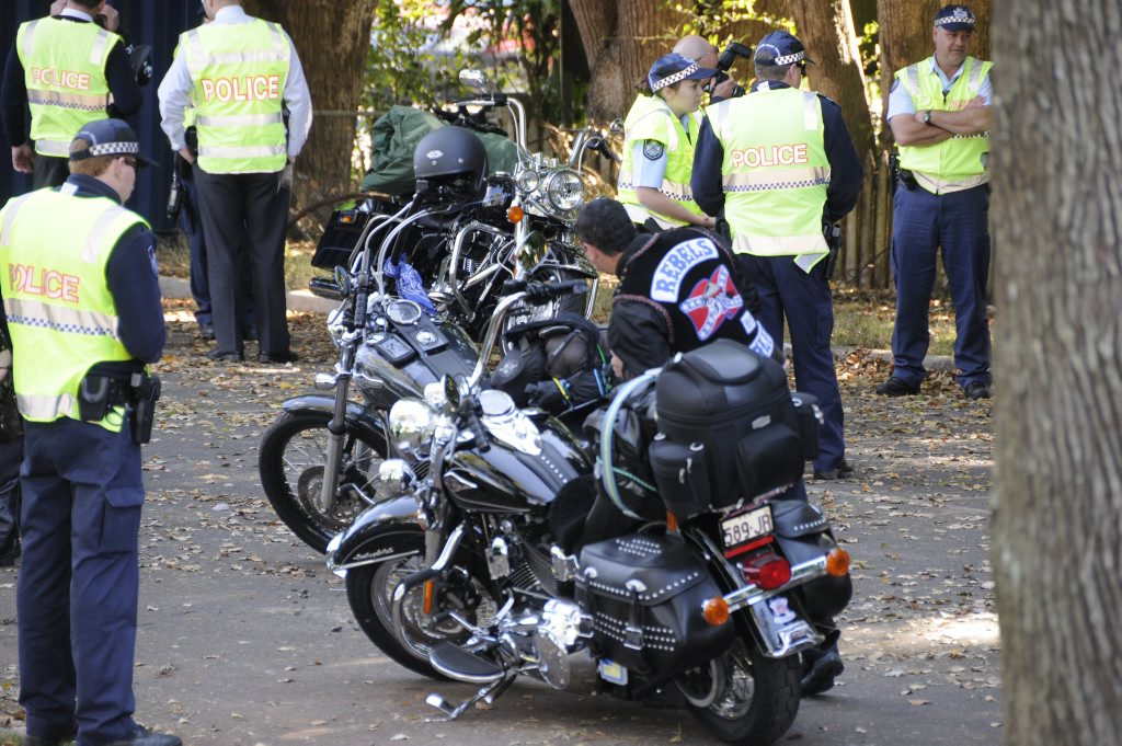 The Rebel bikie group were stopped by Police at the top of the Toowoomba Range for random checks. Photo: Bev Lacey / The Chronicle