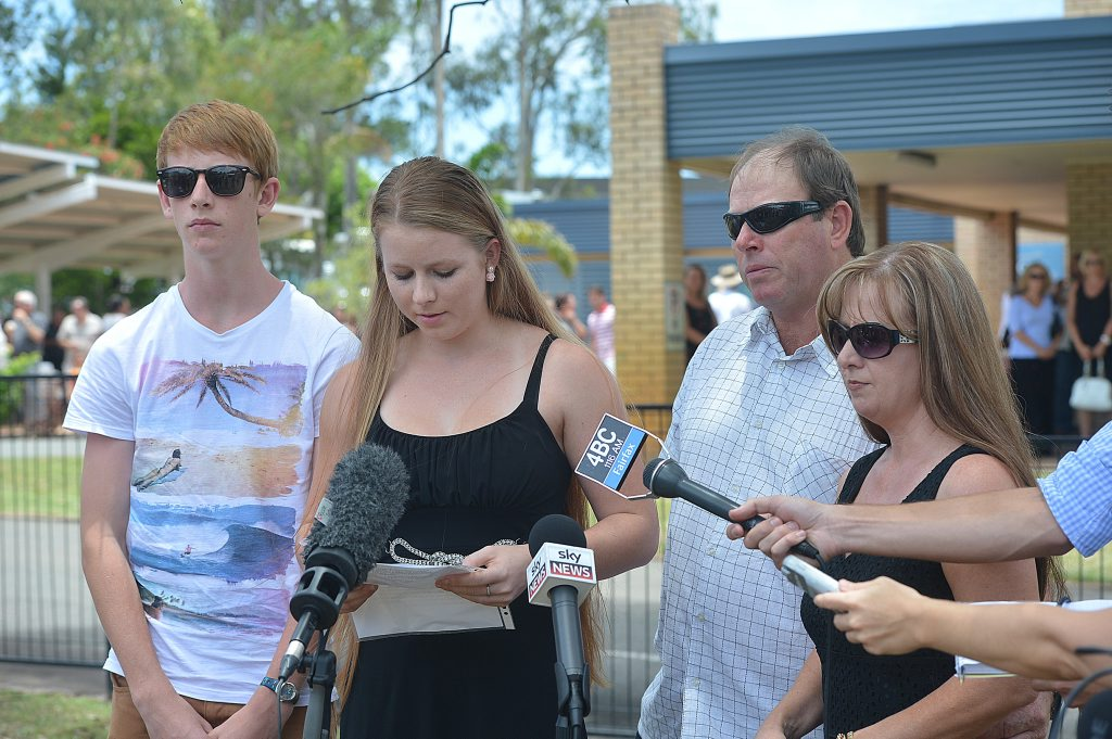 Friends and family attend the Memorial Service for Yvana and Noelene Bischoff who died in Baili. Photo: Warren Lynam / Sunshine Coast Daily
