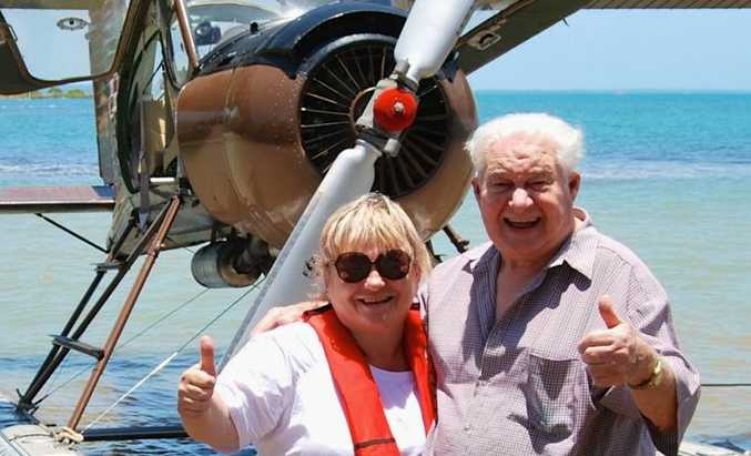 Carol Sendall with her father Owen Hill, 85, at Gatakers Landing after his adventure flight with Paradise Seaplanes.