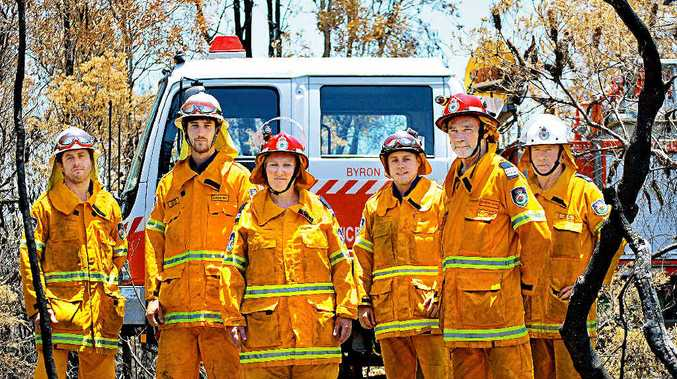 LOCAL HEROES: at the scene of last week's Coast Road fire are Byron Bay Rural Fire Brigade crew (from left) Phil Shayer, Olivier Monthule-McIntosh, Snr Deputy Captain Mellony Burke, Ben Bromley, Captain Gregg Miller and Deputy Captain Rodney Halpin.
