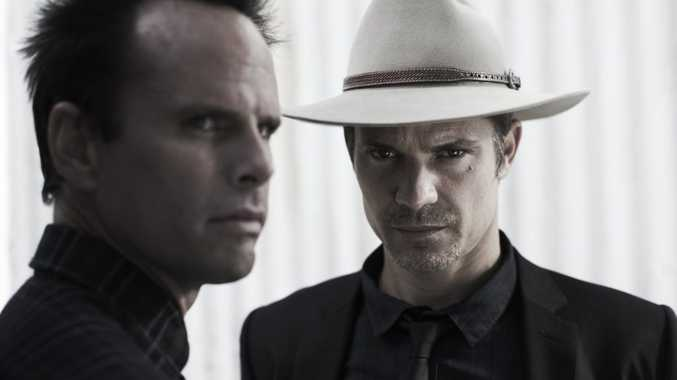 Walton Goggins, left, and Timothy Olyphant star in the TV series Justified. Supplied by Foxtel publicity.