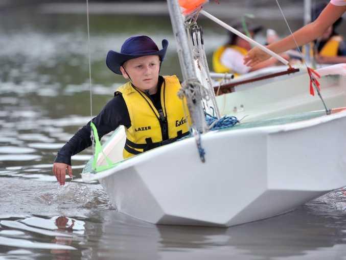 Giorgio Impiccini, 8, at the Port Curtis Sailing Club Junior Start Sailing program.