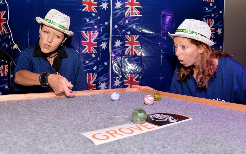 Australia Day Marble players Shazz Barrett and Michaela Page at the Grove Photo Tony Martin / Daily Mercury