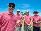 Pink Silks Charity Golf Day, Coffs Harbour Golf Course: Team A Hoy, Rob, Matt, Brendan and Des get ready for a theraputic beverage. Photo: Rob Wright / The Coffs Coast Advocate