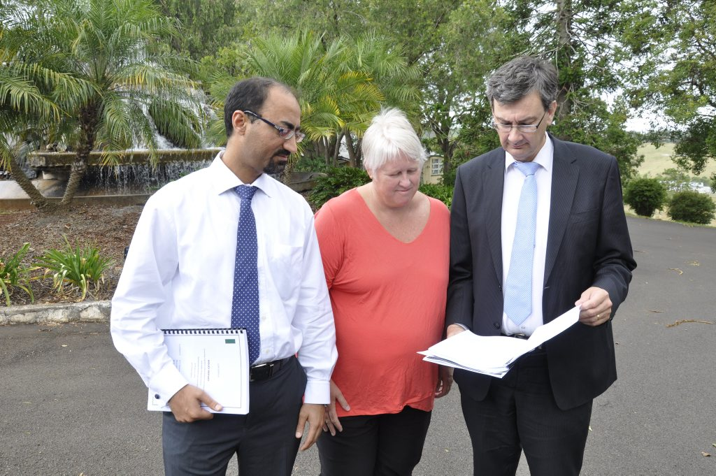 (from left) Darling Downs Hospital and Health Service director of clinical services for mental health Dr Neeraj Gill, acting-executive director of mental health services Kaye Carncross and chief executive officer Dr Peter Bristow. Baillie Henderson Hospital. Photo Chris Calcino / The Chronicle