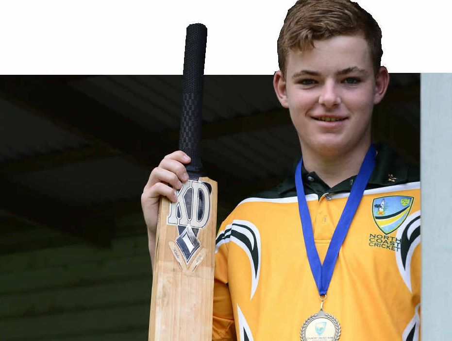 TOP EFFORT: Mitch Kroehnert at home in Grafton after winning the Bradman Cup with the North Coast team, and (INSET) with the Bradman Cup. PHOTOS: Debrah Novak/Contributed