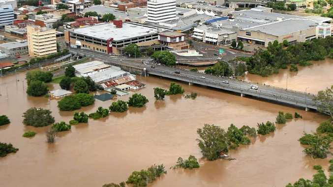 DELUGE: Ipswich CBD under water on January 12, 2011.