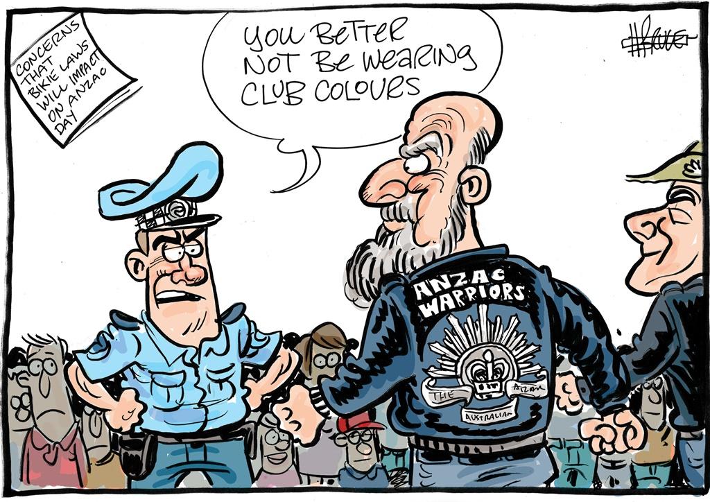 Harry Bruce cartoon on bikies on Anzac Day, according to those opposing the bikies legislation
