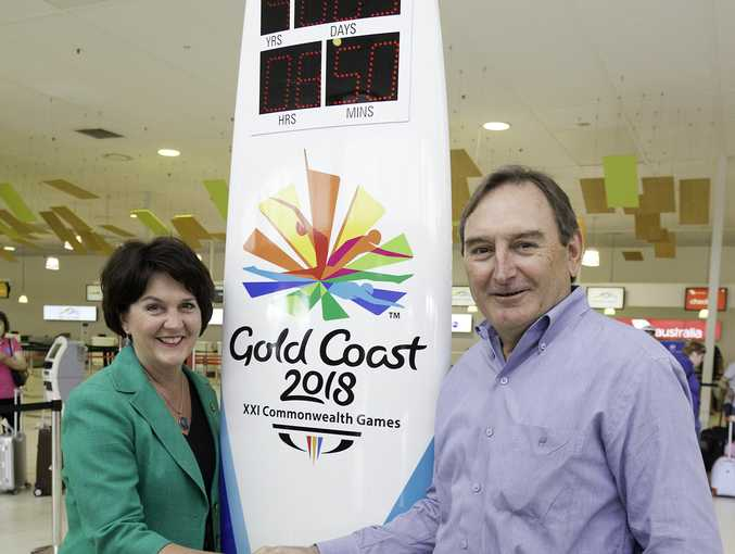 MP Jann Stuckey with CEO of the Gold Coast Airport Paul Donovan and the countdown clock.