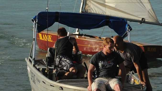 Owner of the sailing boat Blame, Azee Swaleheen (right) praised Reece Westle and Tom Dietz for their help in a rescue in Gatakers Bay after his boat capsized.