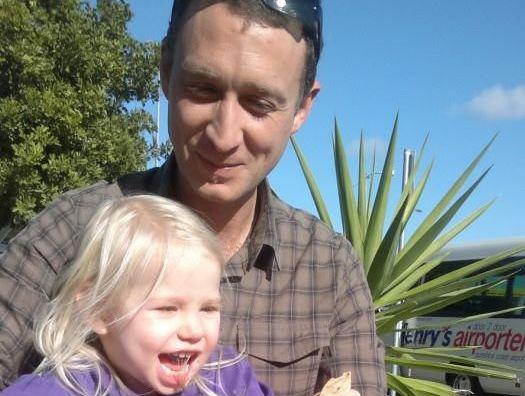 Greg Hutchings, aged 35, and his four-year-old daughter Eeva Dorendahl were last seen on Pottsville Rd about 12.30pm on Saturday.